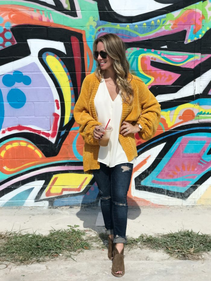 Fall fashion - softest yellow cardigan and ripped jeans with booties