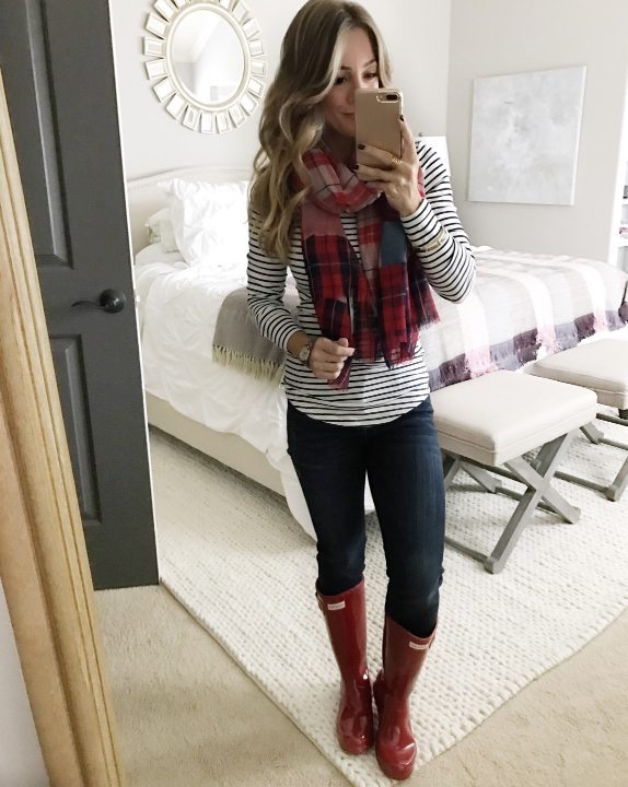 Fall fashion - striped top, plaid scarf, skinny jeans and red Hunter boots