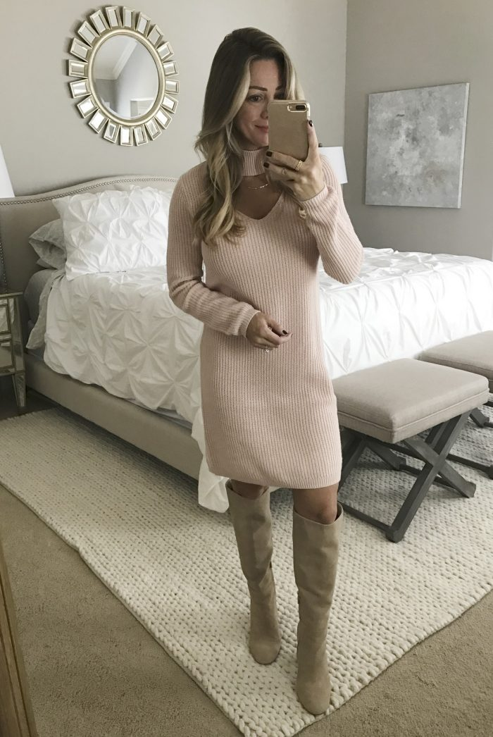 Fall fashion - dressing room try on, blush pink sweater dress with tall boots