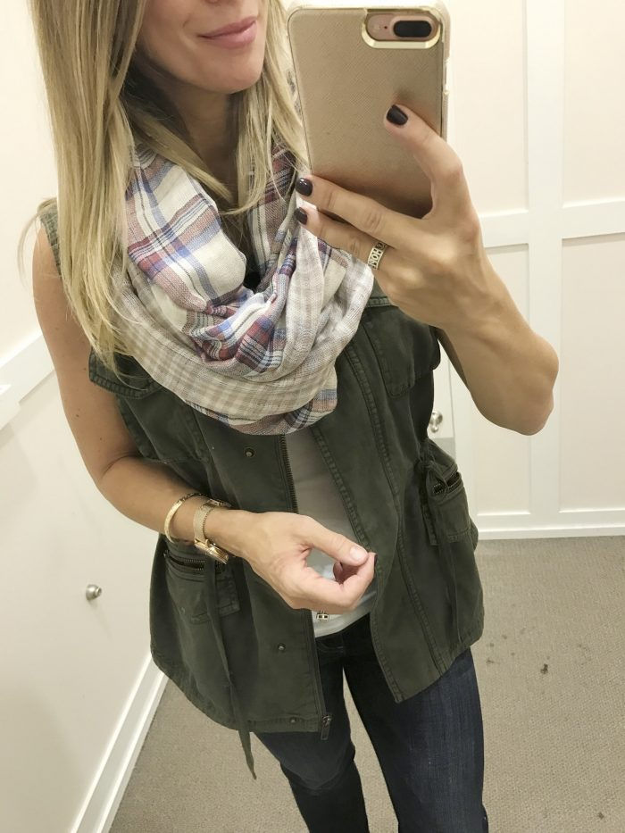 Fall fashion - dressing room try on, military vest and plaid infinity scarf