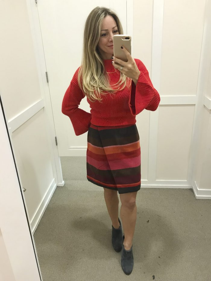 Fall fashion - dressing room try on, striped skirt and flare sleeve sweater
