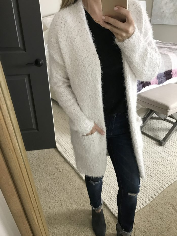 long fuzzy white cardigan with pockets