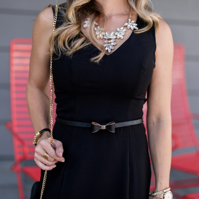 LBD with statement necklace and bow belt Mod Cloth