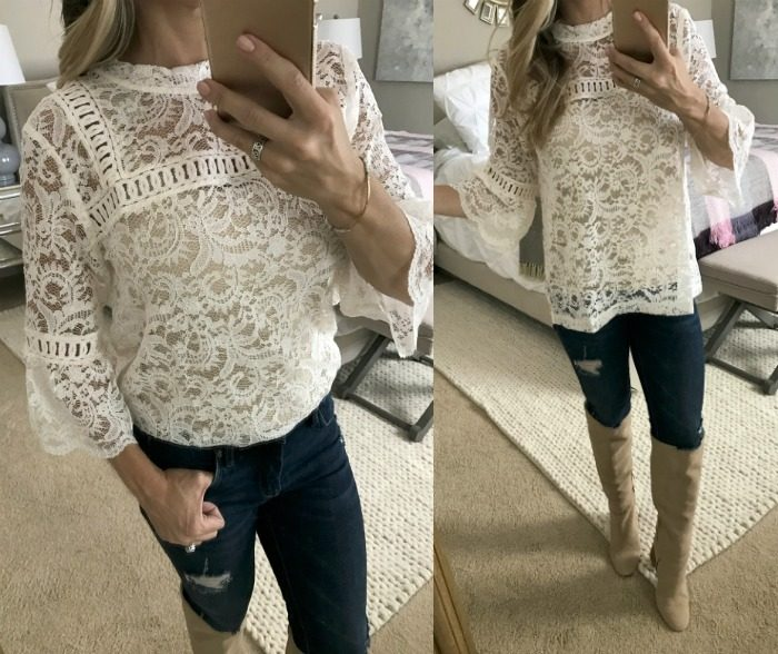 Lace blouse Loft with jeans and knee high boots