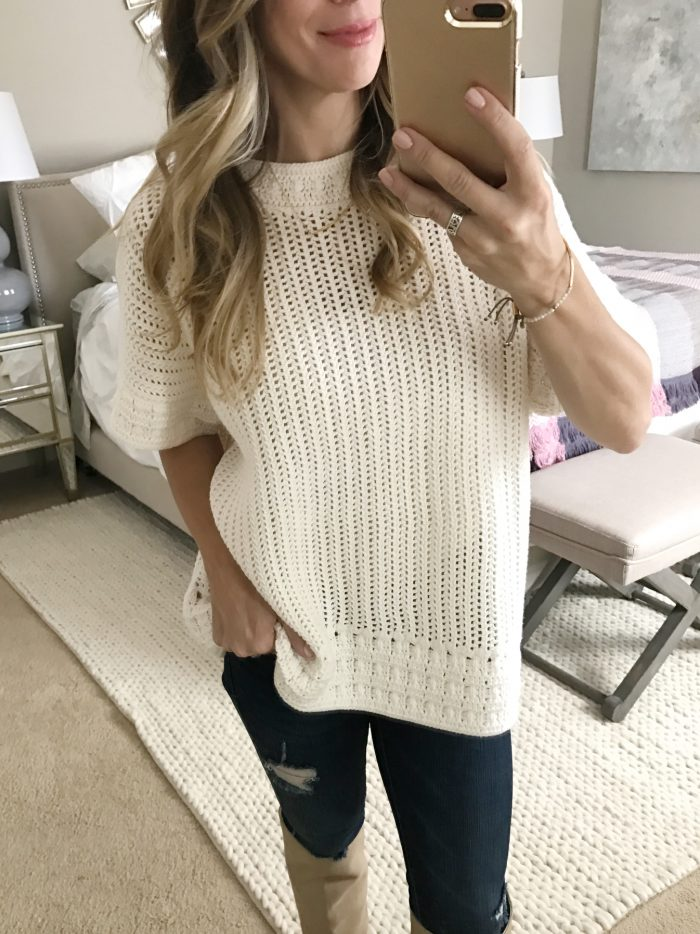 Loft crocheted top with jeans, cute Fall outfit