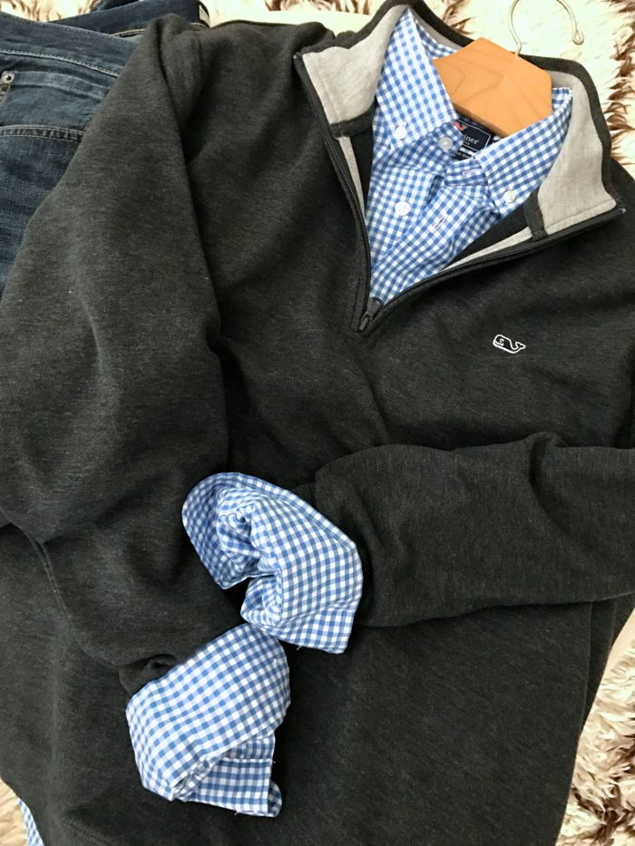 Men's gingham shirt and pullover