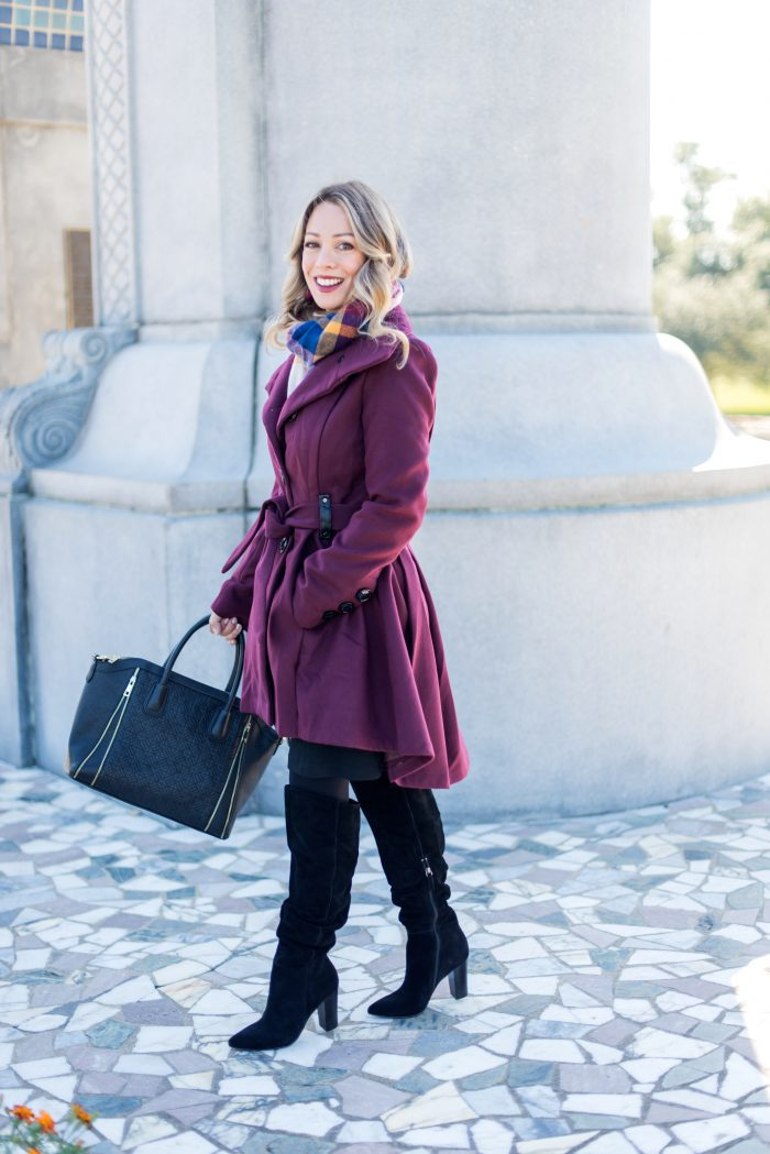 Mod Cloth long burgundy coat and knee boots