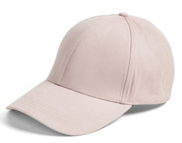 Blush pink cotton ball cap- perfect for baseball games and bad hair days!