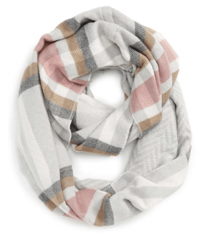 Fall Fashion - pink and grey infinity scarf