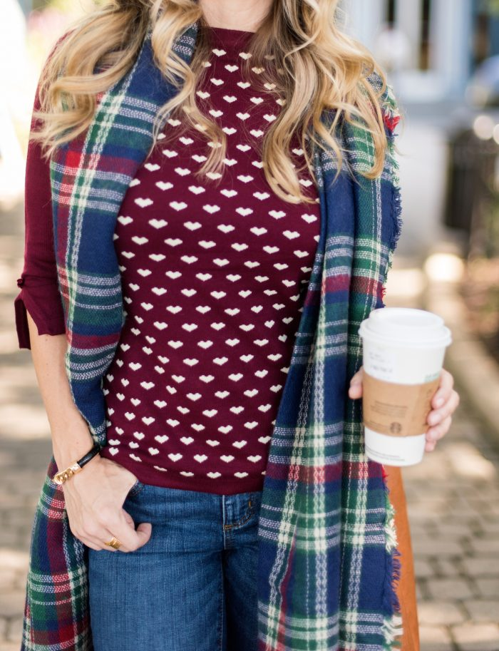 burgundy heart sweater, jeans, boots and a plaid scarf #fallfashion