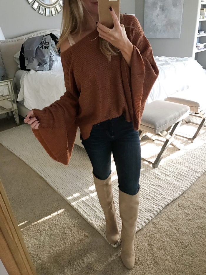 dark wash jeans bell sleeve sweater