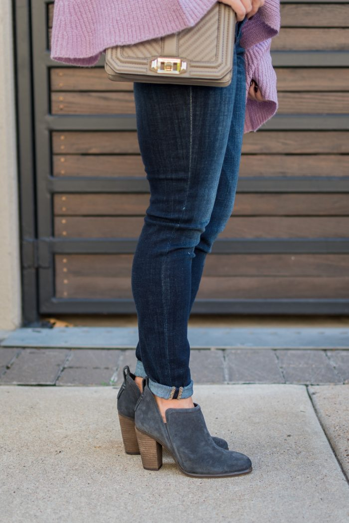 Women's Fall fashion favorite - comfortable fall booties with side cut outs #fallfashion #sweaterwheather #ootd