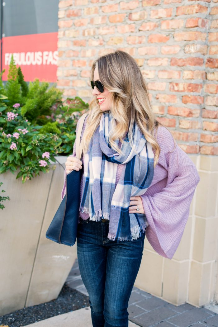Women's Fall Fashion Favorite A plaid fringe scarf with lilac flared sleeve sweater #ootd #fallfashion