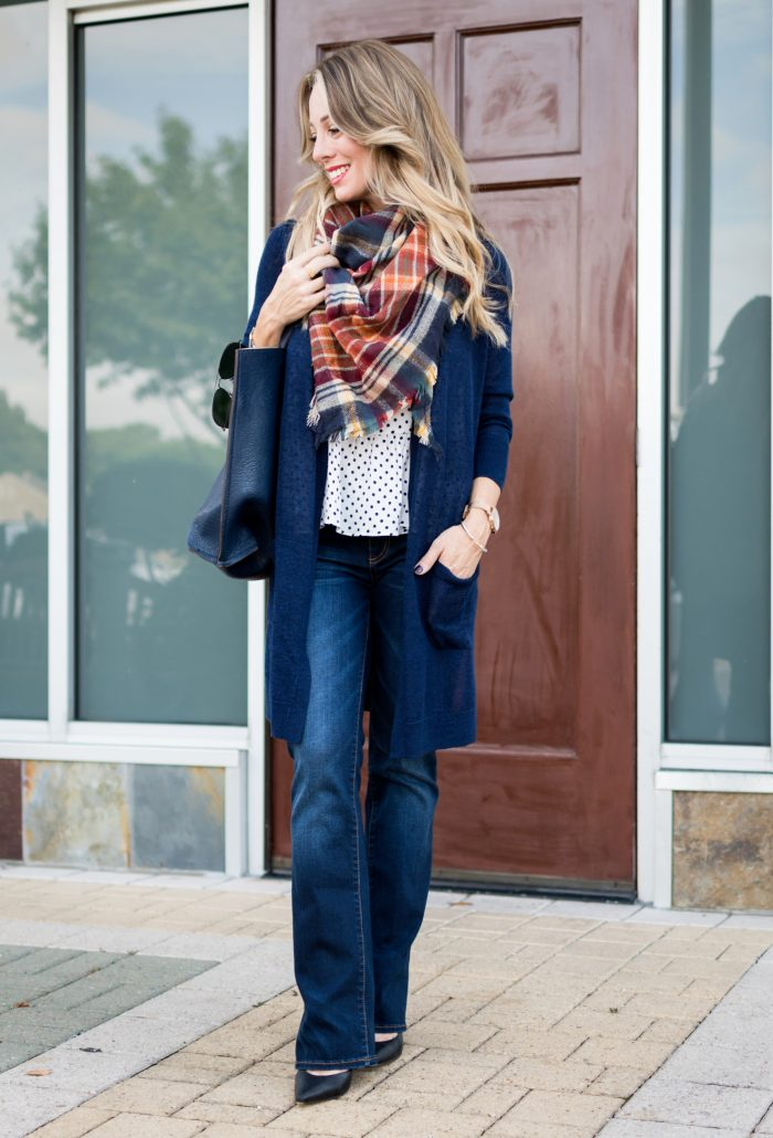 long cardigan bootcut jeans plaid scarf.10