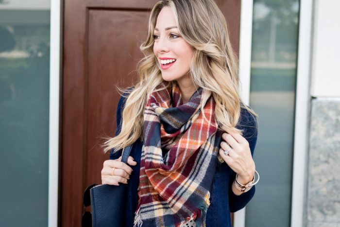 long cardigan bootcut jeans plaid scarf.14