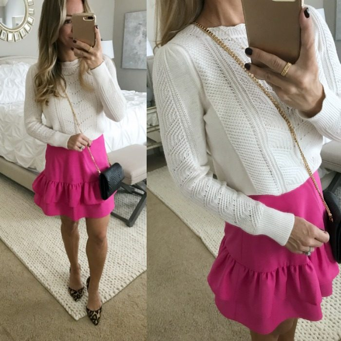 pink skirt white sweater leopard heels