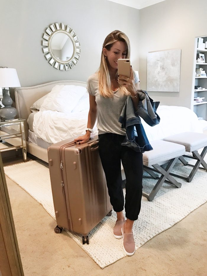 rose gold luggage crop joggers blush pink slip on sneakers
