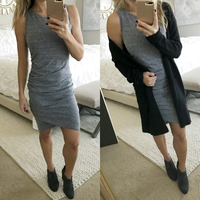 ruched tank dress and cardigan