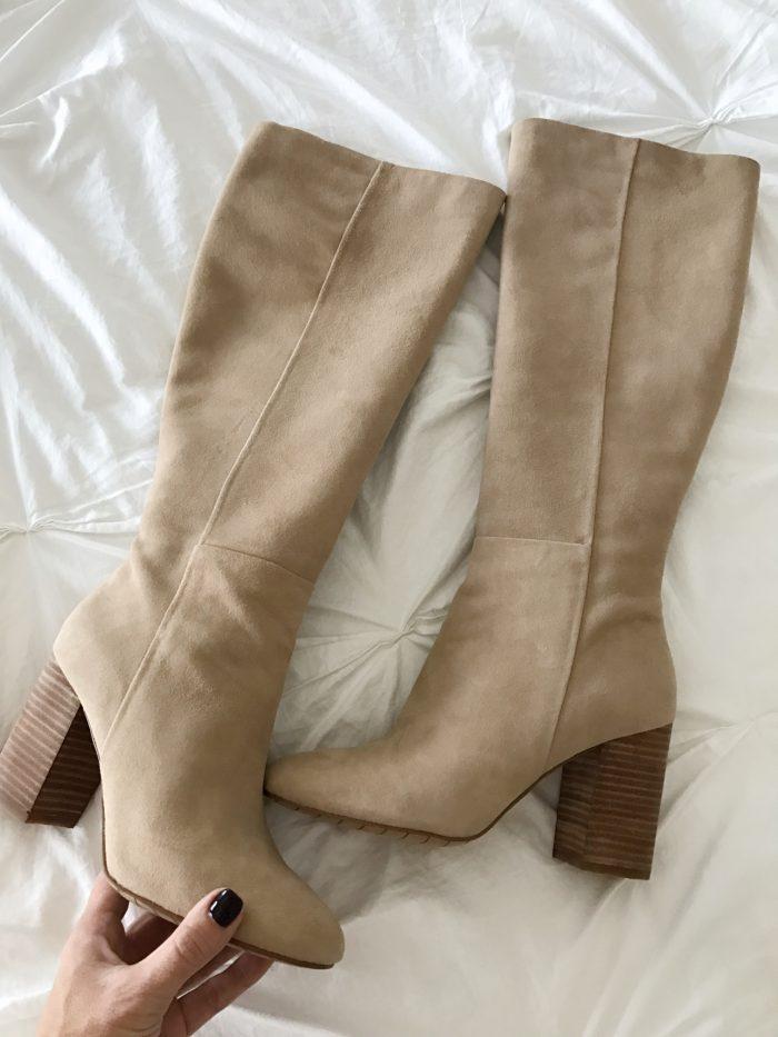 tall suede boots block heel