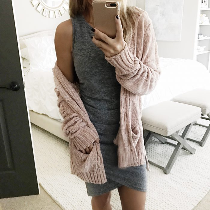 ruched tank dress and pink chenille cardigan