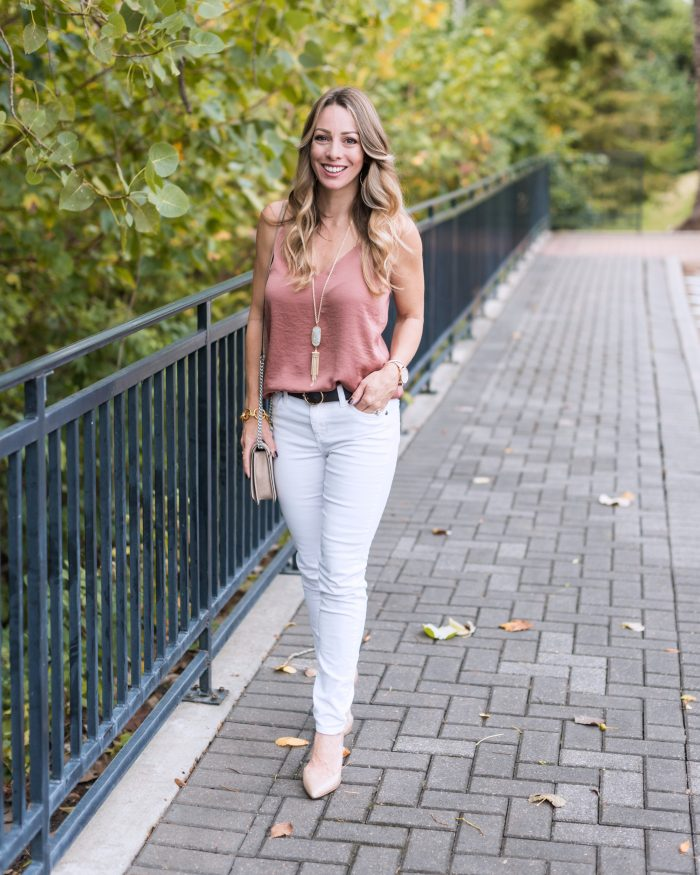 Fall Outfit - white corduroy jeans w camisole #fallfashion