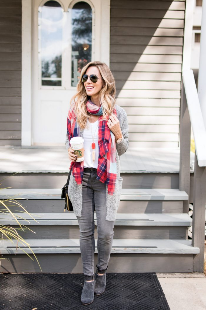 Fall Outfit Idea - grey skinny jeans with cardigan and red plaid scarf #fallfashion #thanksgivingoutfit #greyjeans