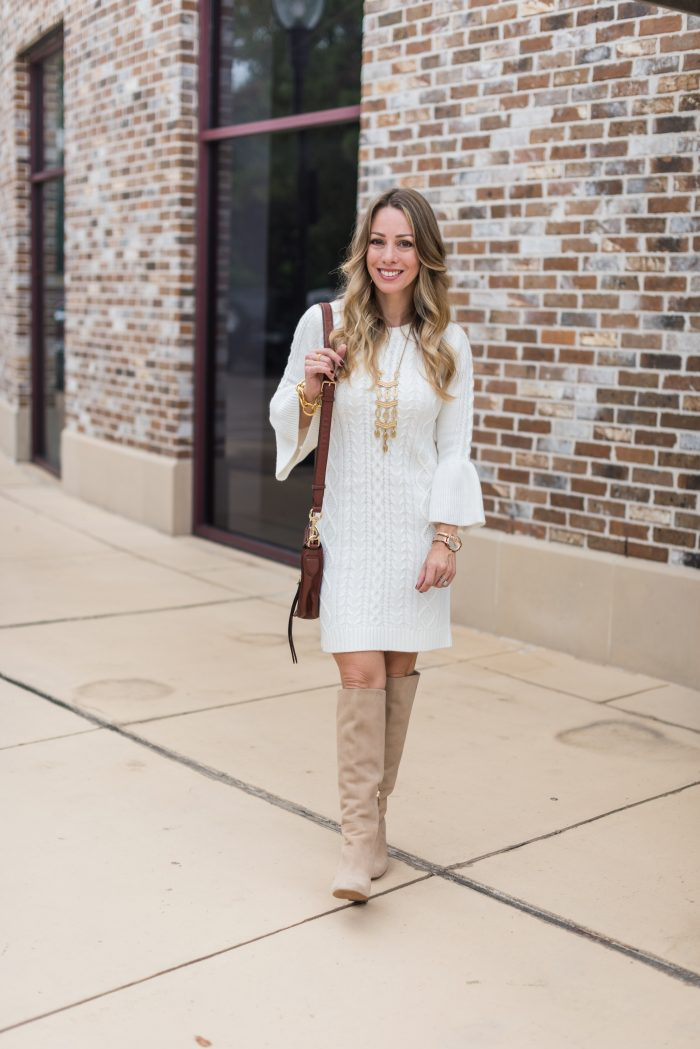 Fall Outfit - white bell sleeve sweater dress with dark red vest and knee high boots #fallfashion