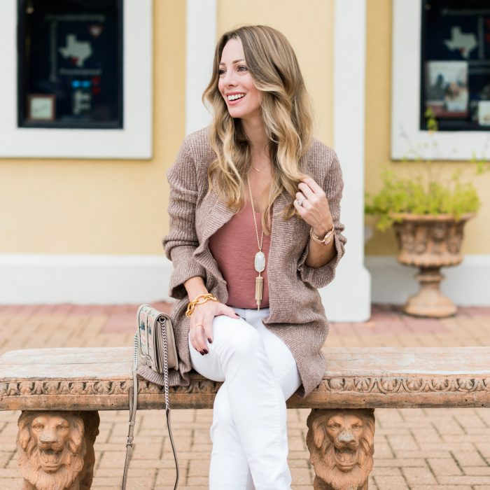Fall Outfit - white corduroy jeans w ruffled cardigan and camisole #fallfashion