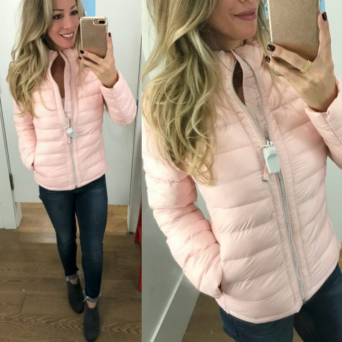 Dressing Room Fit & Review - Pink puffer jacket and jeans #dressingroom #fallfashion