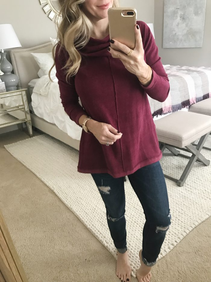 Dressing Room Fit & Review - cowl neck tunic and ripped jeans #dressingroom #fallfashion