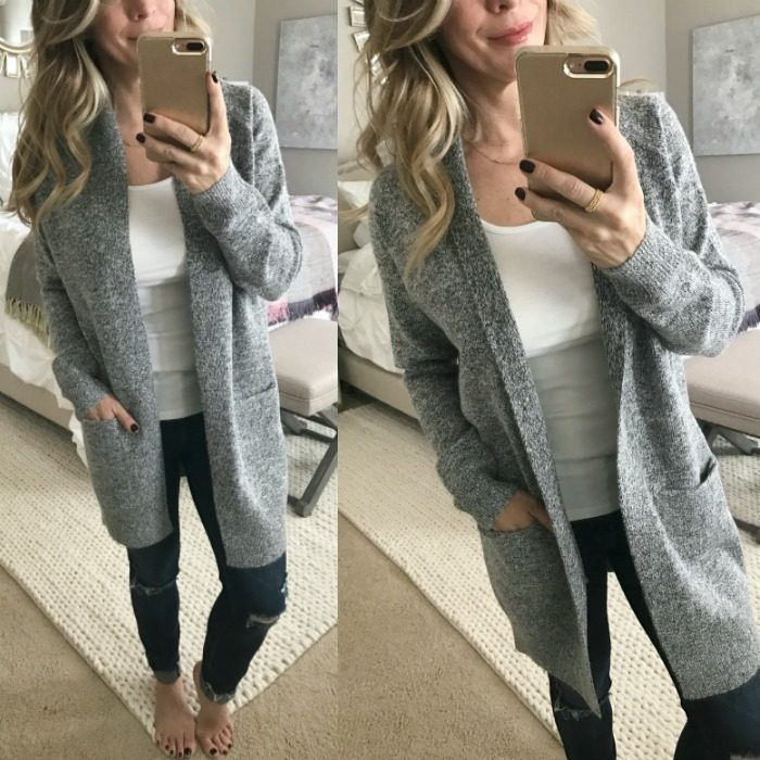 Dressing Room Fit & Review - grey cardigan and ripped jeans #dressingroom #fallfashion