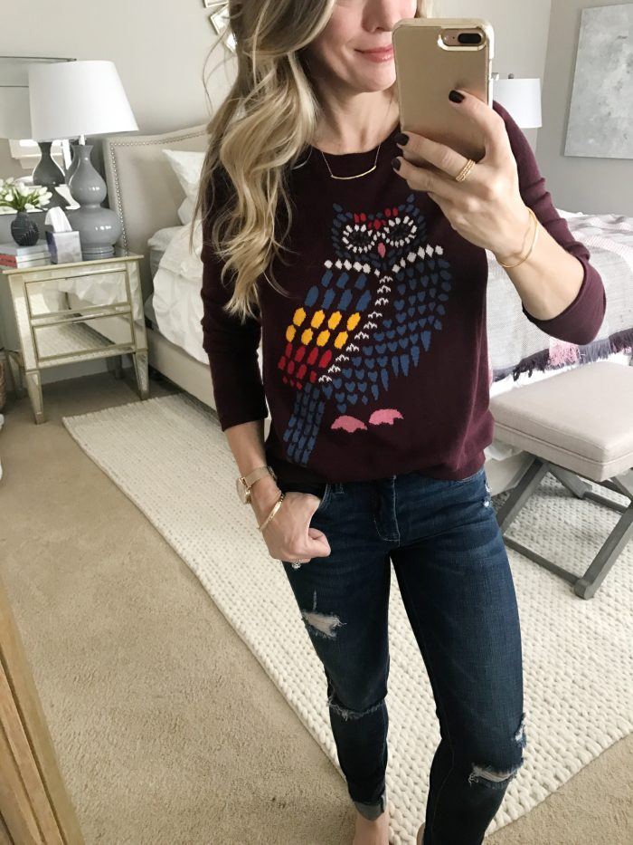Dressing Room Fit & Review -owl sweater and ripped jeans #dressingroom #fallfashion