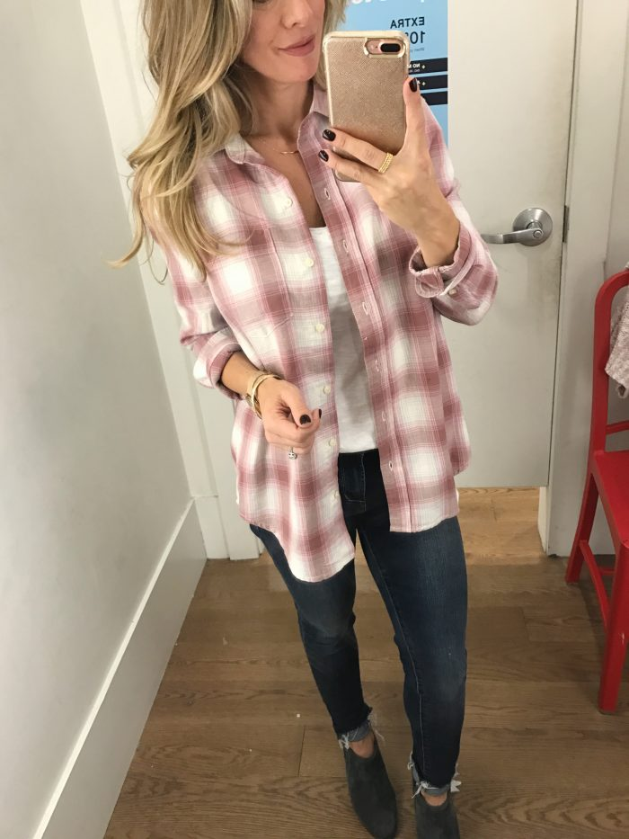 Dressing Room Fit & Review - pink plaid button down top with jeans #dressingroom #fallfashion