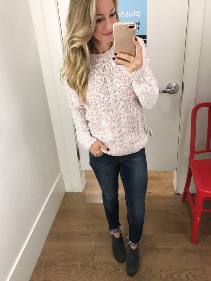 Dressing Room Fit & Review - pink sweater with jeans #dressingroom #fallfashion