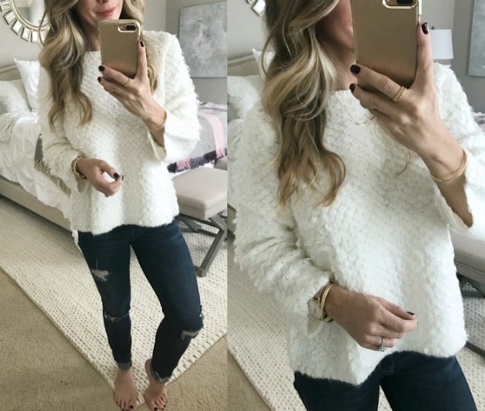 Dressing Room Fit & Review - white puffy sweater and ripped jeans #dressingroom #fallfashion