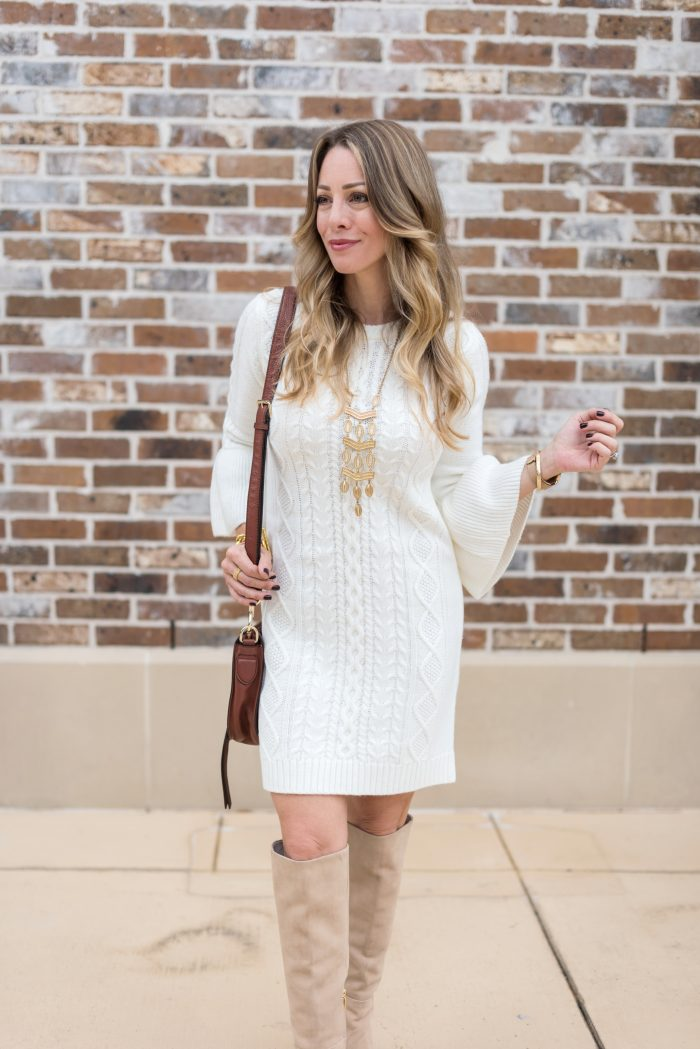 Fall Fashion - white cable knit dress with bell sleeves