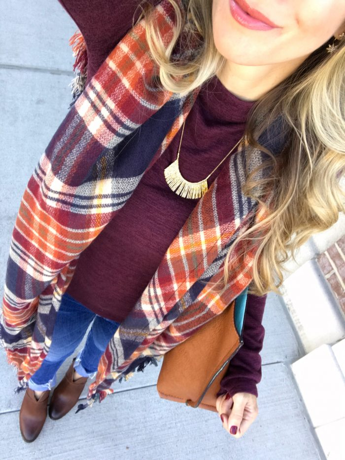 Fall fashion - bell sleeve top with plaid scarf skinny jeans and booties #fallfashion #outfitidea