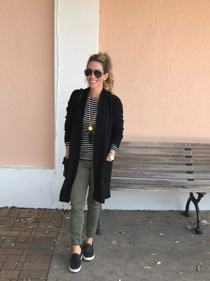 Fall fashion - cardigan with cargo pants and slip on sneakers #fallfashion #outfitidea