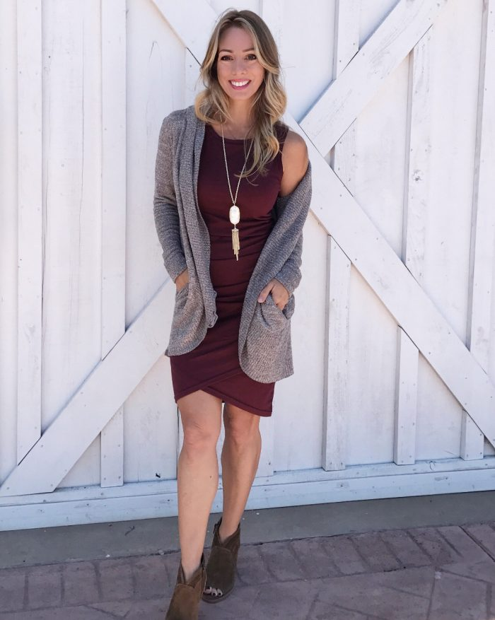 Fall fashion - cozy cardigan with dress and booties #Fallfashion