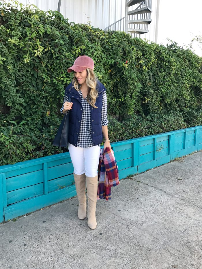 Fall fashion - gingham top with puffer vest and boots #fallfashion #outfitidea