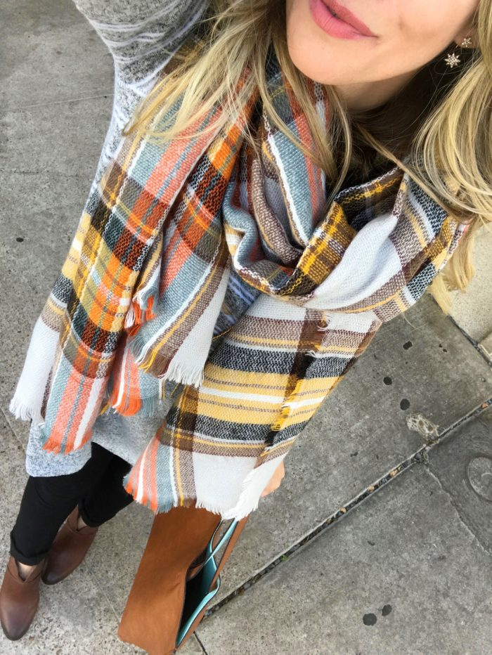 Fall fashion -plaid scarf with black jeans and brown booties #fallfashion #outfitidea