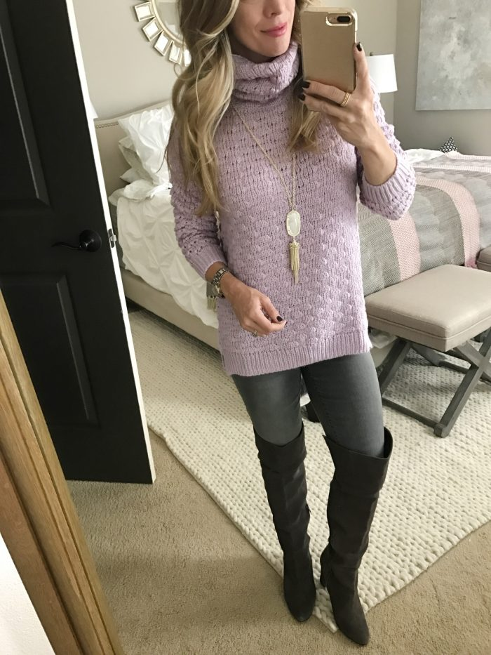 How to wear grey jeans - lilac sweater and grey OTK boots