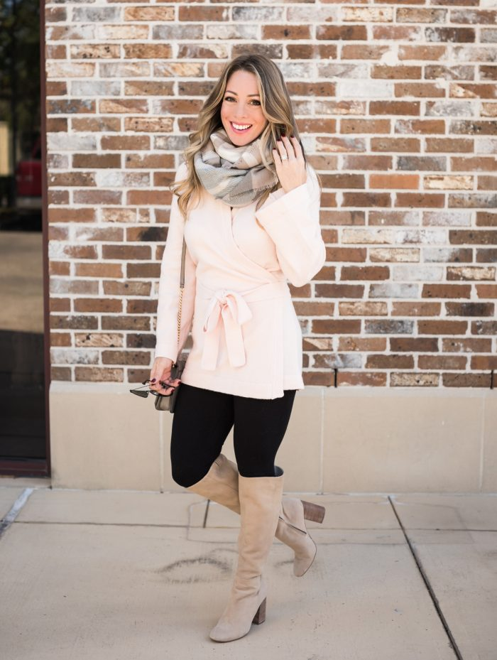 Leggings with pink wrap cardigan and tall boots #fallfashion #winterfashion 1