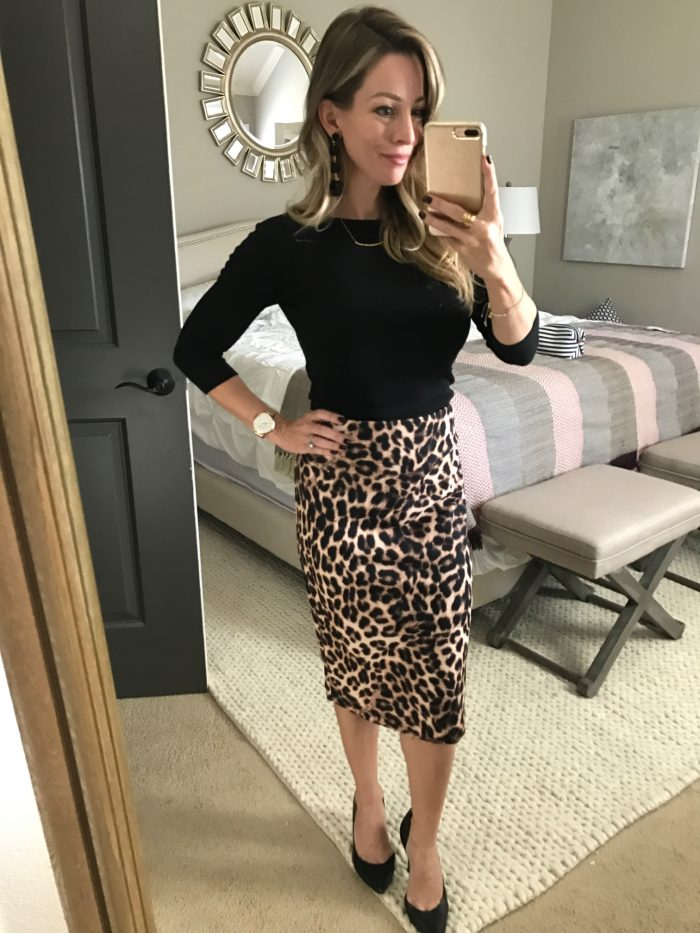 date night outfit - Leopard skirt black top