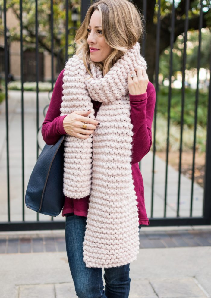 Pink chunky knit scarf