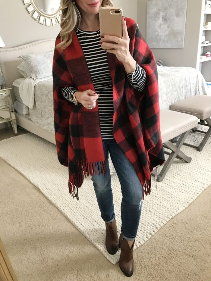 black and red check poncho