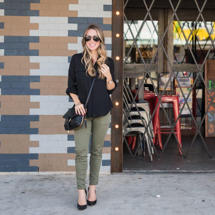 black tunic cargo skinny jeans