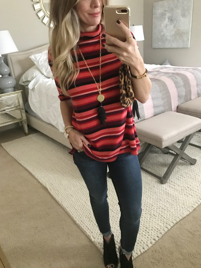 casual fall outfit- striped top and skinny jeans