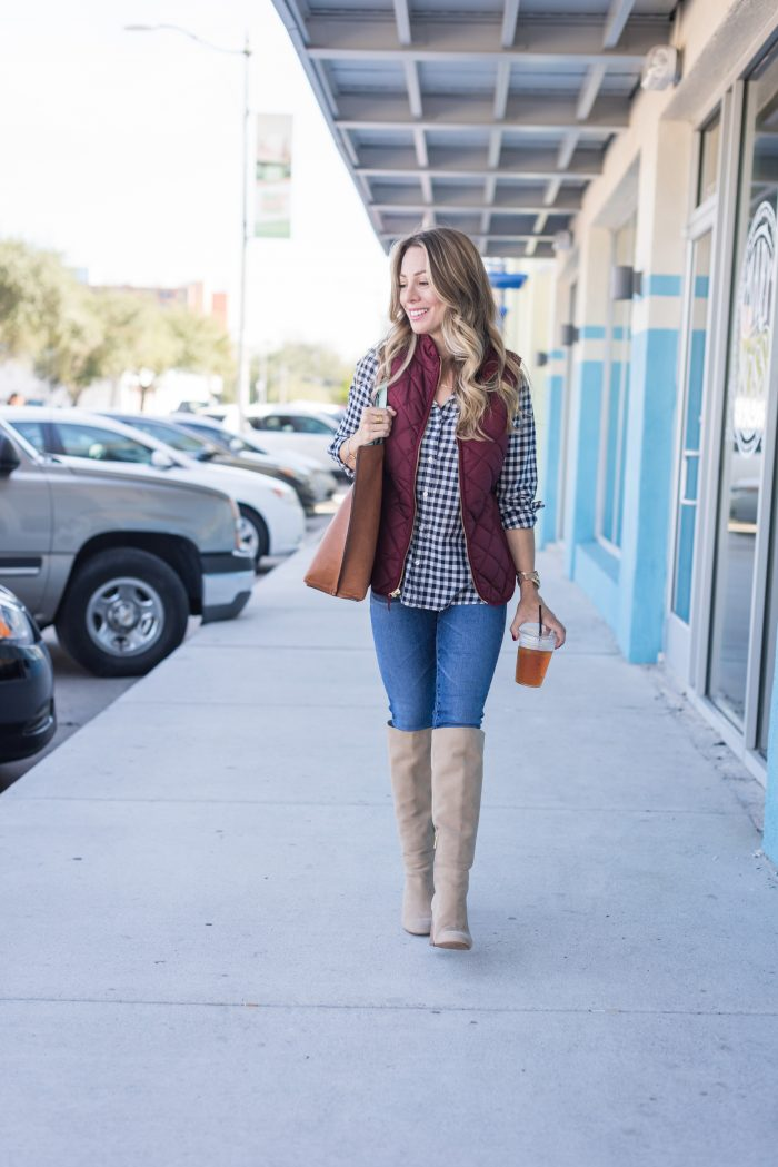 gingham top with tall boots and maroon vest #Fallfashion