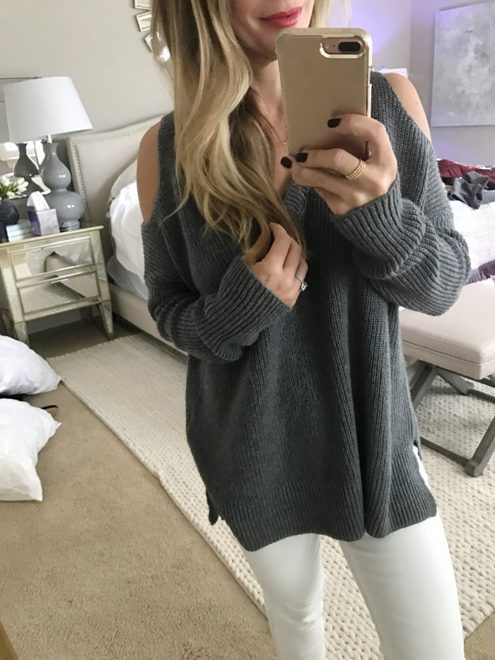 grey cold shoulder slouchy sweater